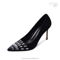 Sexy Rhinestone Decorated Black Women Pump