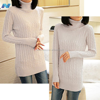 New Women Classic High collar Long Knit Casual Long Sleeve Pullover Tops Sweater