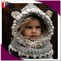 hot sale funny baby windproof wolf scarf hat set children crochet animal hat