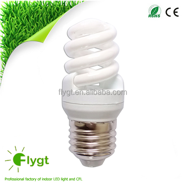 T2 7mm 7W full spiral cfl bulbs with CE and RoHS
