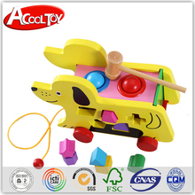 latest products in market wooden battery operated walking dog toy