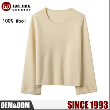 OEM factory price new Winter O-neck loose women's knit ladies sweaters / pure wool sweater