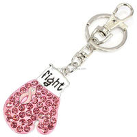 Silver Metal Rhinestone Boxing Glove Fight Breast Cancer Awarenes Pink Ribbon Key Chain
