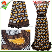 SQ017-2 Unique Embroidered 100% Cotton Swiss Voile Lace Fabric For Women Party Clothes