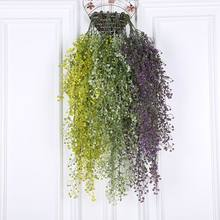 Green Artificial Fake Hanging Plastic flowerVine Plant Leaves Garland Home Garden Wall Decoration Wedding arch backdrop Supplies