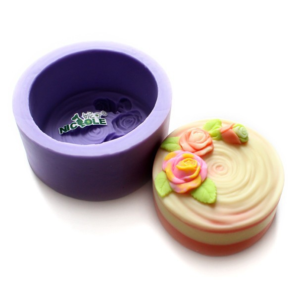 R1185 Nicole Round Decorative Silicone Soap Molds