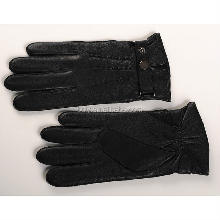 deer skin leather men's gloves with wool lining