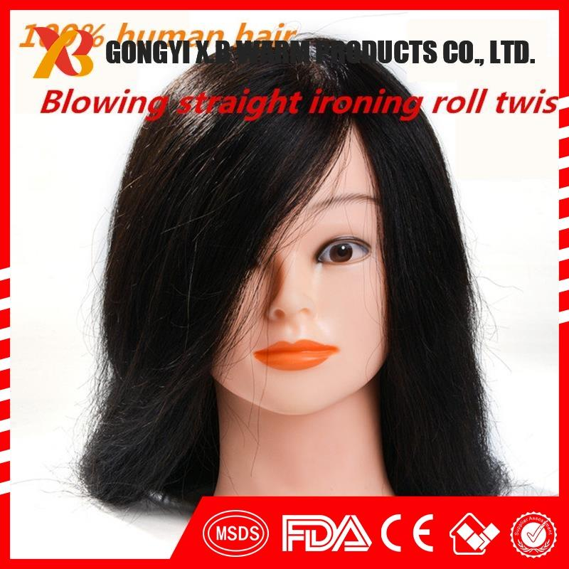 100% human hair natrual black 24inch makeup cutting perming practice training mannequin head