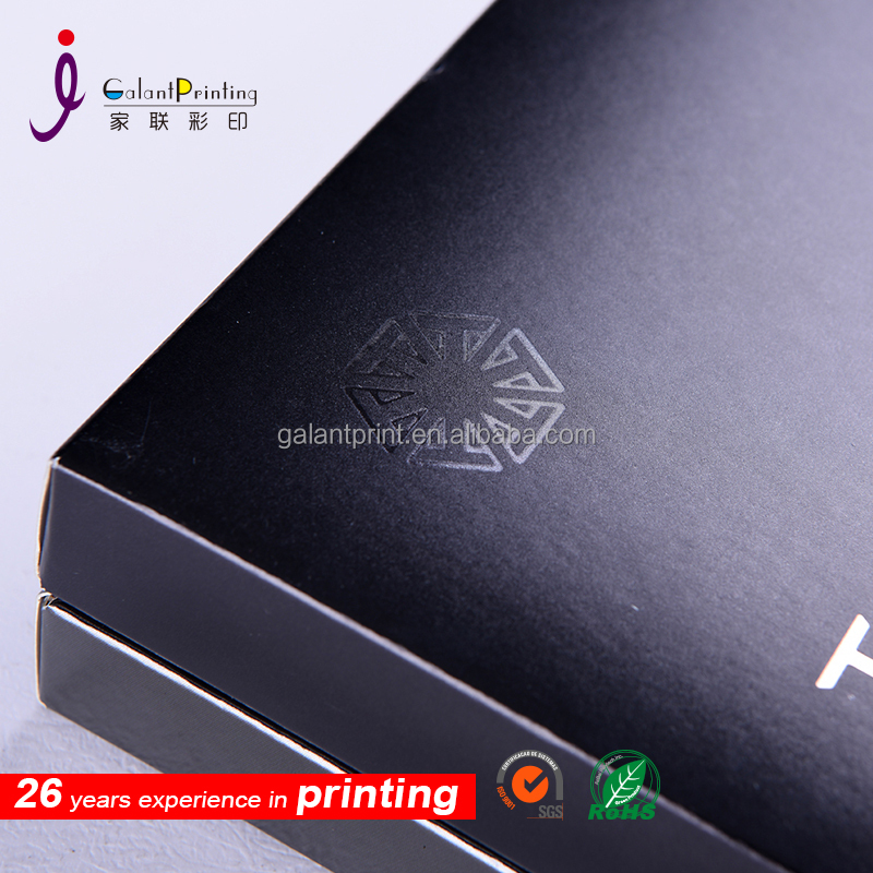customized black color kraft paper package printed box with gloss lamination