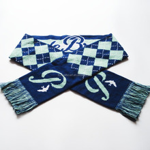 Promotional cheap customised pretty acrylic knitted jacquard football fan scarf