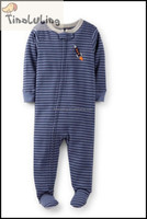 TinaLuLing Brand New Boys rocket striped baby zipper footed pajamas 100% cotton
