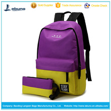 China bags factories produce and sale purple canvas backpack with purse set