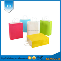 Wholesale fancy colorful kraft paper clothing packaging bag with logo printing
