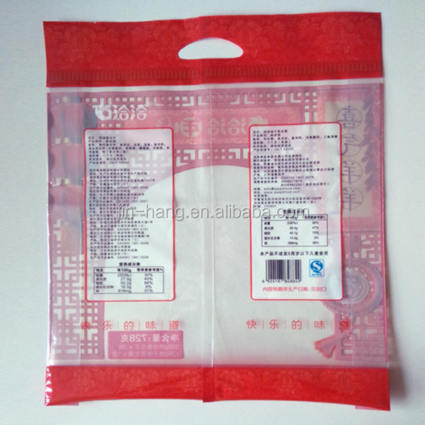 China Supplier Heat Sealed Transparent Plastic Bag for Packing Dried Fruit Fish Meat Bag with Handle