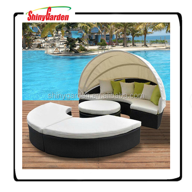Outdoor Round Rattan Wicker Sofa Bed With Canopy/daybed