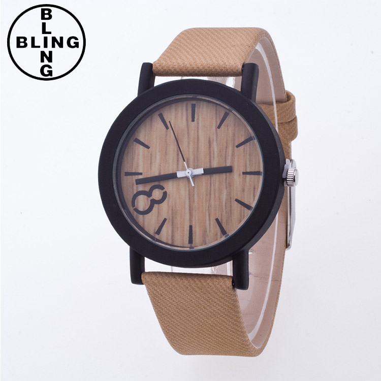 >>>Men Women Simulation Wooden Casual Watch Wooden Color Leather Strap Wrist watch Wood/