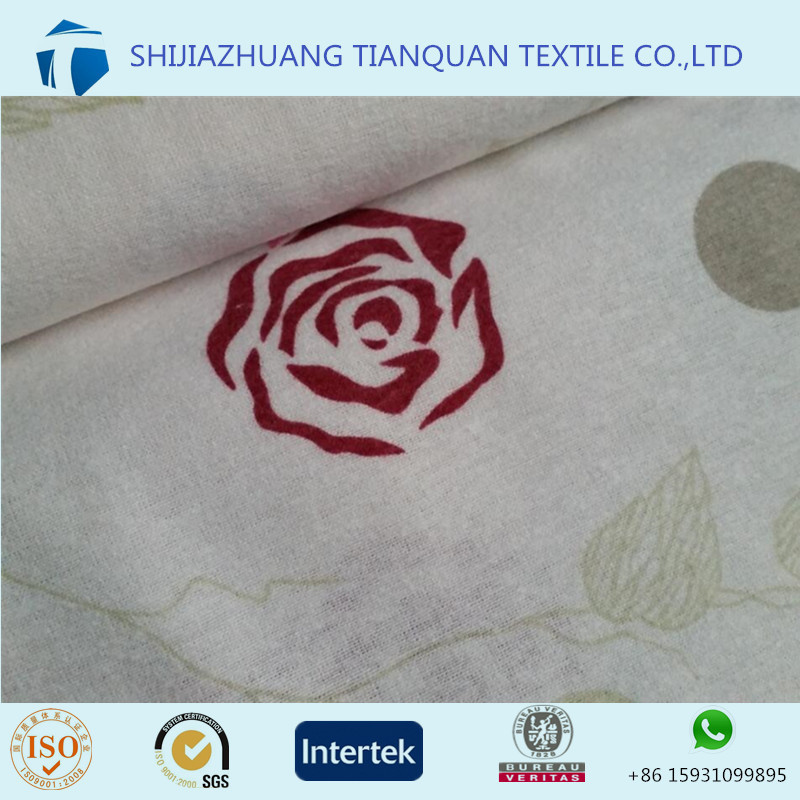 "Printed white color flower deisgn cotton flannel fabric 98"" for bed sheet/home textile"