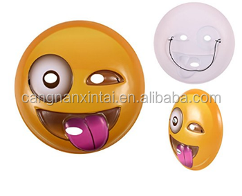 Popular PVC plastic emoji face mask, cute kids mask