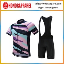 High Performance Women Short Sleeve Polyester Cycling Jersey and Lycra Bib Shorts Kit