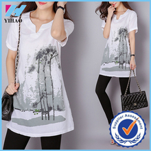 Dongguan Yihao 2015 Lastest Design Loose Plus Size Linen Fashion Blouse Short Sleeve Printed Casual Tops