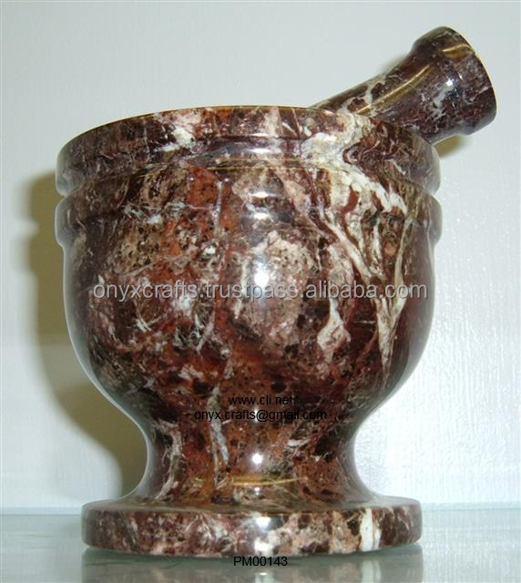 Red Zebra Marble Mortar and Pestle
