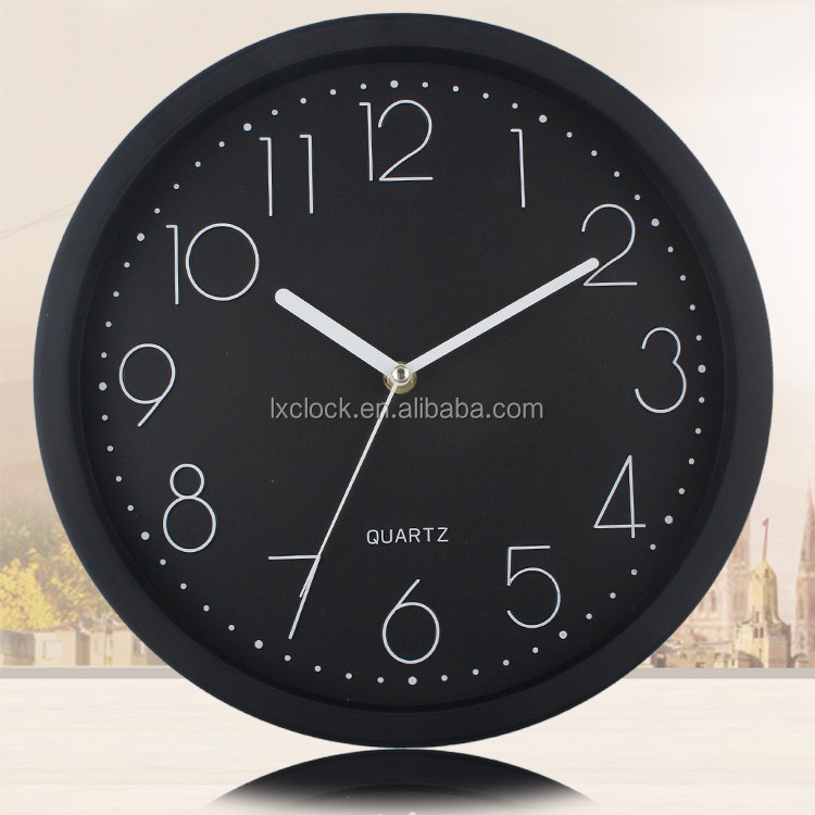 black plastic time clock white number round wall clock