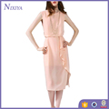 Asymmetric Cut Pink Color Casual Chiffon Dresses Women Summer