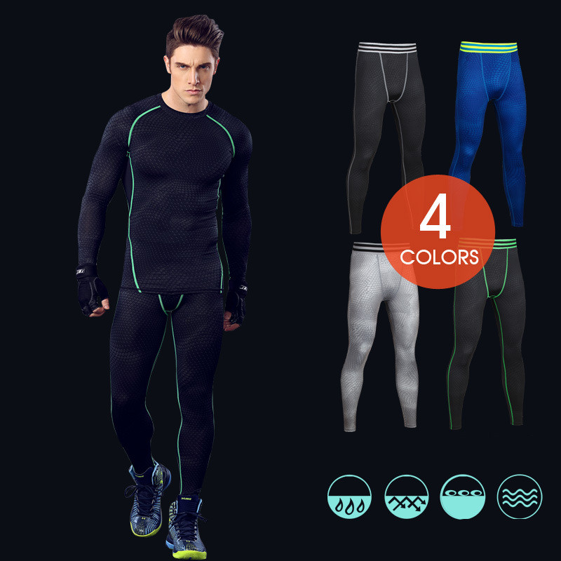 2016 compression tights printed gym leggings high elasticity men joggers