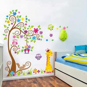 animals and tree art custom vinyl wall sticker decal for kids living room decor