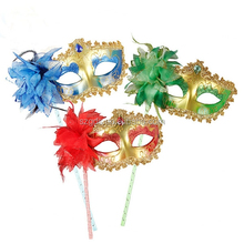 Multi-colors fashion feather Princess Mardi Gras Feather masquerade Mask With Stick masquerade mask with stones