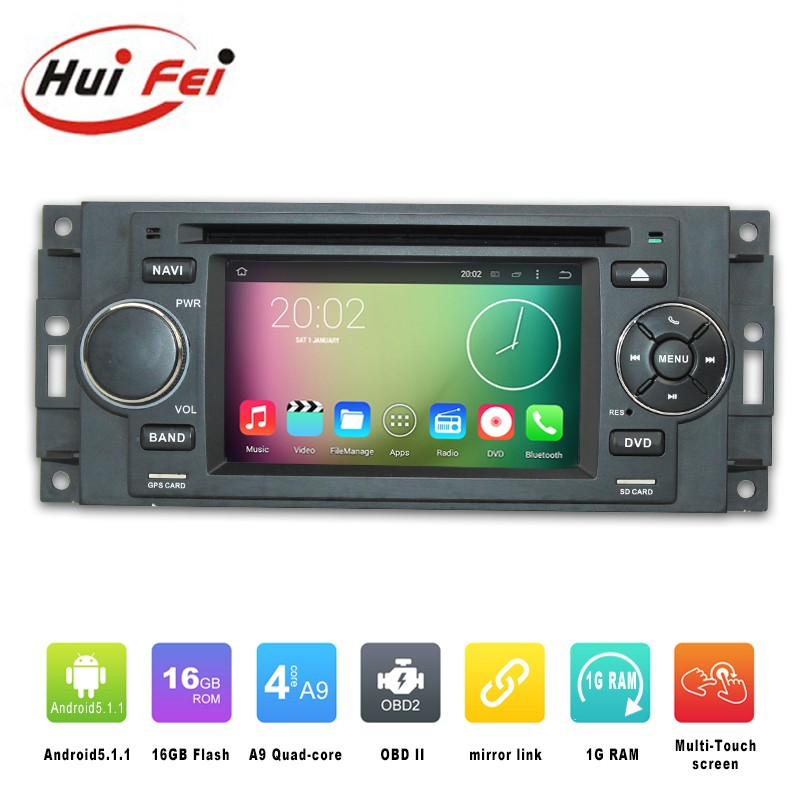 Best accessories Android 5.1.1 double din car radio for Chrysler 300c with DVD GPS navigation radio bluetooth multimedia player