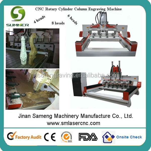 high configuration 4 axis automatic 3d wood carving cnc router with swing axis head 180 degree rotating