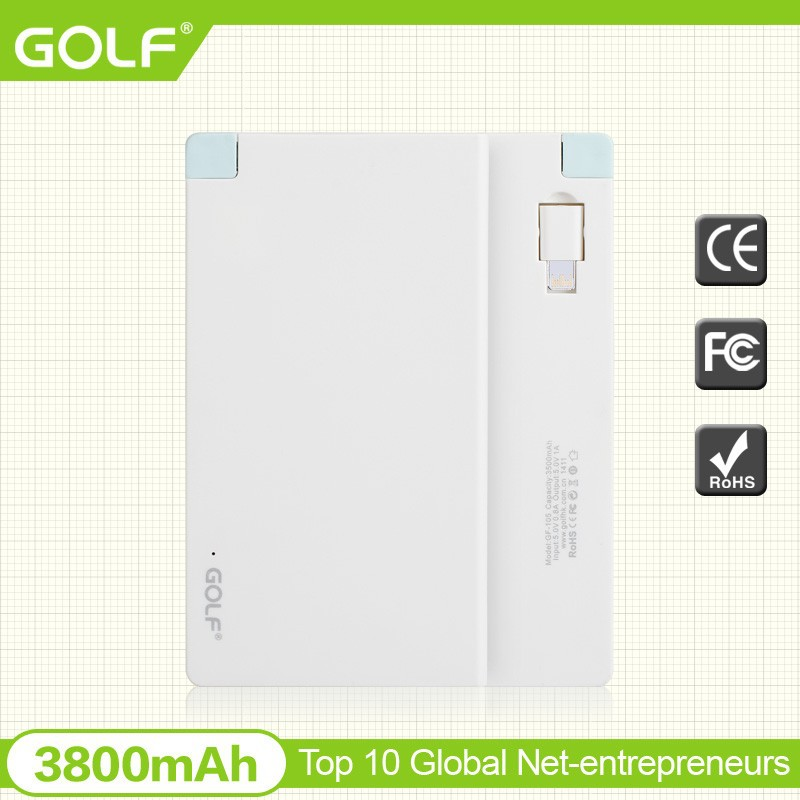 3800mAh Credit card size power banks with built-in cable charging for Iphone