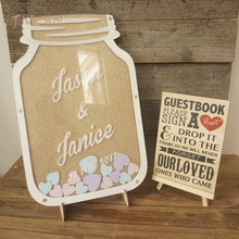 Custom Wood Wedding Drop Box Mason Jar guest book With Heart