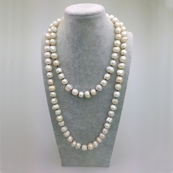 PE0051 New Fashion Brown String Knotted Fresh Water pearl long necklace for woman