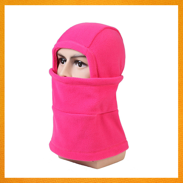 SPWE-140 super warm and comfortablecap scarf polar fleece face mask beanie hat solide biservice outdoor neck beanie