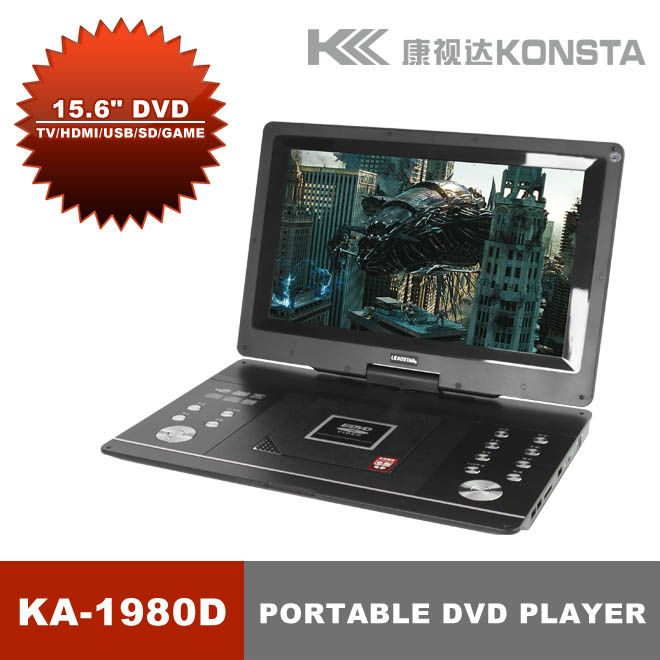 Cheap 15.6 inch Portable DVD Player with TV tuner FM VGA USB SD Game KA-1980D