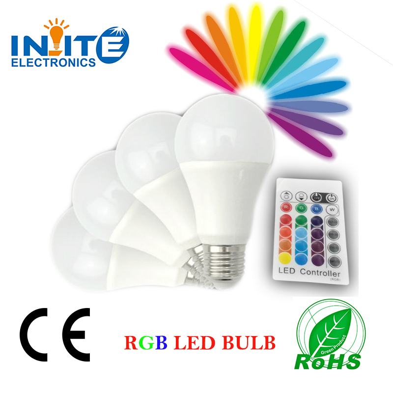 LED bulb RGB A60 5W remote controller led <strong>light</strong> E27