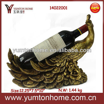 Resin peacock wine bottle holder accessory