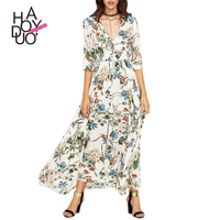 Haoduoyi WomenSexy V-neck Half Sleeve Boho Chiffon Long Dress Casual Elegant Floral Printed High Waist Maxi Dress Vestidos