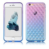 C&T Clear Flexible TPU Gradient Ramp Rhombus Plaid Design Case Cover for iPhone 6& 6s 4.7 inch