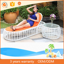 Hot Sale Leisure Outdoor Garden Furniture Rattan Wicker Heart Daybed With Side Table