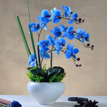 Real touch artificial flower blue latex orchid
