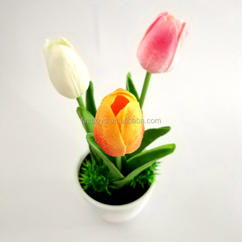 New design artificial LED flashing tulip flower light panter pot decoration for Mother'day