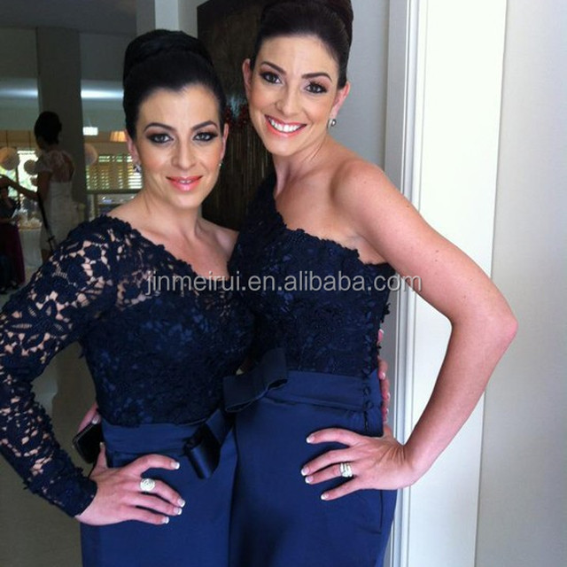 Free Shipping Custom Made Dark Navy Blue Bridesmaid Dresses Top Norma Couture One Shoulder Lace Long Sleeves Maid Of Honor BD242