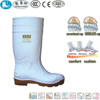 37 white yellow pvc long cowboy work boot for women
