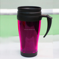 Non-spill coffee thermos plastic travel mug with handle and lid 14oz