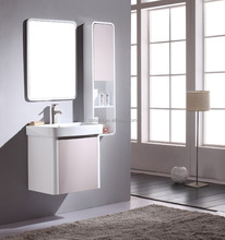 K-1017 slim white wall hung wash basin bathroom wall corner cabinet with shelf mirror sink, spanish bathroom vanity