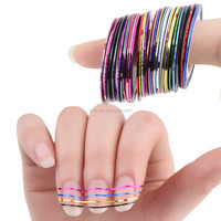 free shipping mixed colors nail rolls striping tape line diy nail art tips decoration nail sticker