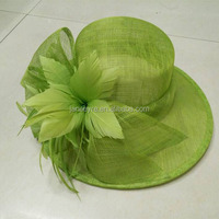 Hot Sale Green Sinamay Fabric Kentucky Derby/Races Hat For Women
